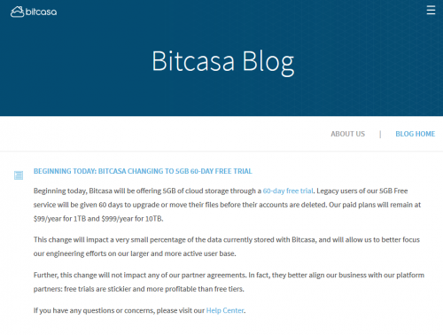 BITCASA CHANGING TO 5GB 60-DAY FREE TRIAL